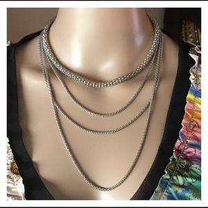 Silver Multiple Chain Necklace
